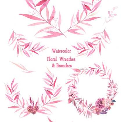 Watercolor floral wreaths, branches..