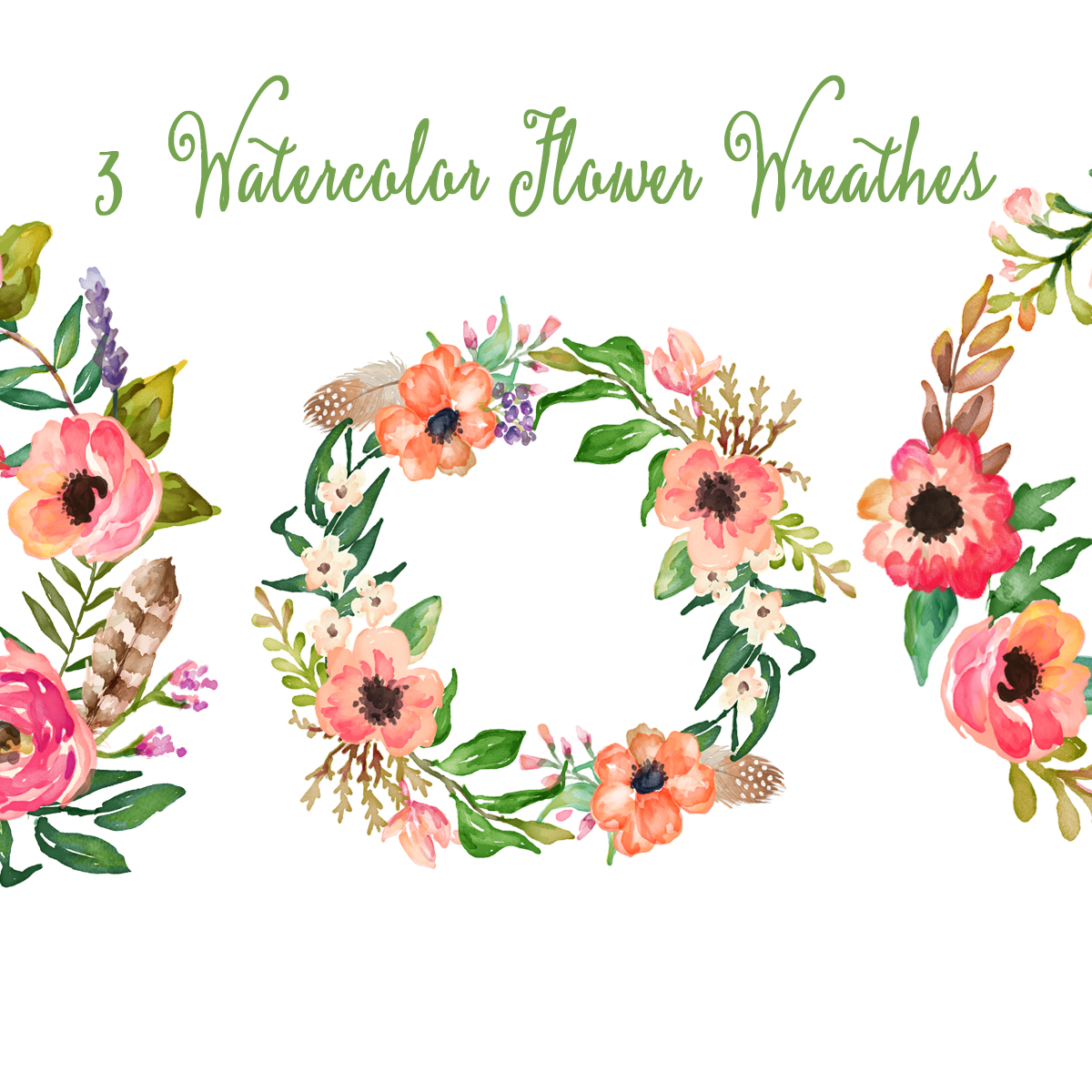 Watercolor Hand Painted Floral Frames Clipart Quot Floral