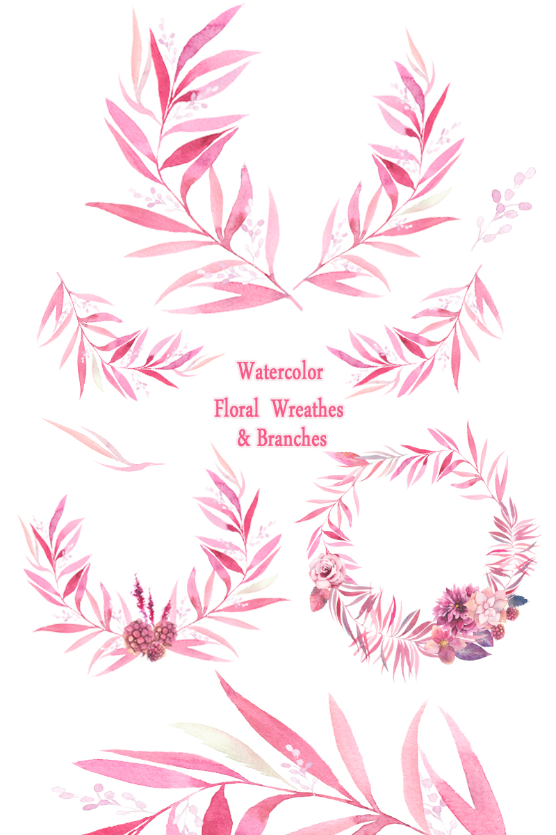 Watercolor floral wreaths, branches, leaves, invitation, greeting card, diy clip art, green leaf, greenery, leafage