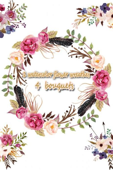 1 Watercolor flower wreathes & 4 flower bouquet, Floral Frame PNG, wedding bouquet, arrangement, bouquet, digital paper, green flowers, bridal shower, for blog banner
