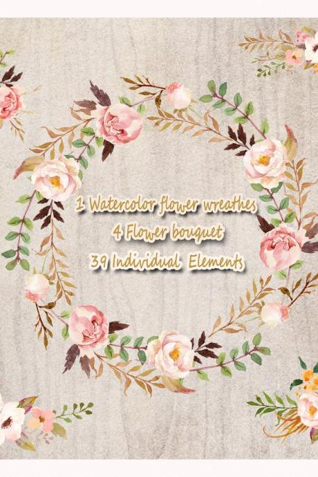 1Watercolor flower wreathes&4 flower bouquet,39 individual elements,Floral Frame PNG, wedding bouquet, arrangement, bouquet, digital paper, green flowers, bridal shower, for blog banner
