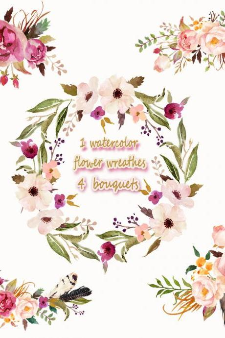 1 Watercolor flower wreathes&4 flower bouquets,Floral Frame PNG, wedding bouquet, arrangement, bouquet, digital paper, green flowers, bridal shower, for blog banner