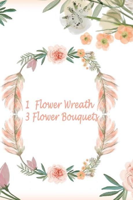 Watercolor flower wreathes , flower bouquet, Floral Frame PNG, wedding bouquet, arrangement, bouquet, digital paper, green flowers, bridal shower, for blog banner