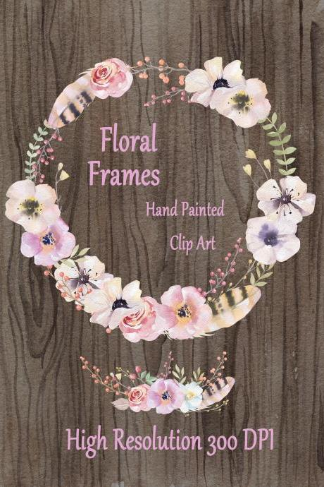 Watercolor hand painted floral frames clipart: 'FLORAL WREATHS' pink flowers clipart wedding clipart DIY invite greeting card floral clipart hand painted