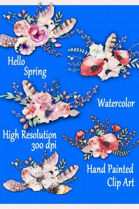 Watercolor floral bouquet clipart: 'FLORAL CLIPART' Wedding clip art Floral clip art DIY elements wedding invitation