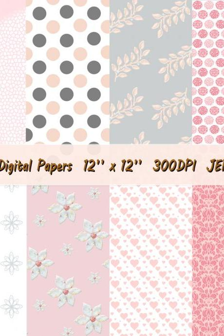 Watercolor, Digital Paper, Florals,Pink,Grey, wedding flowers, patterns, bouquet, background, bridal shower, for blog banner