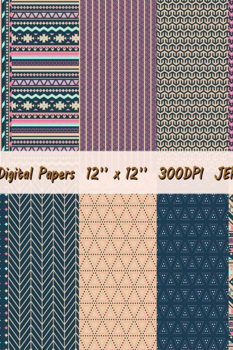 Digital paper including aztec patterns and geometric models in vibrant colors: pink, dark blue and tan, background,JPEG