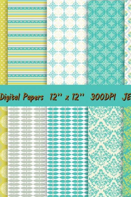 Digital paper in beautiful combination of colors – lime green and turquoise, white and grey,florals and leaves, damask, geometric and dots