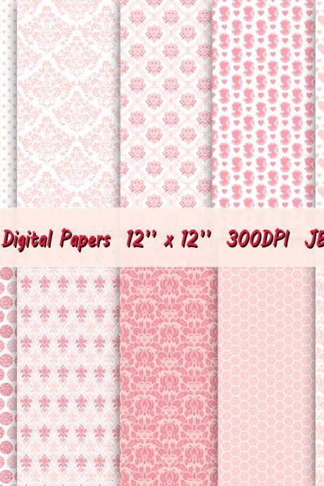 Digital paper for scrapbook with cameo pattern, hearts, damask, flowers and honey comb background in a lovely shade of pink and coral.